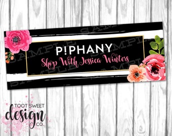 Piphany Facebook Cover Photo, Piphany FB Profile for Stylist, Shop Sign, Social Media Banner, Black White Stripe Floral, DIGITAL for WEB
