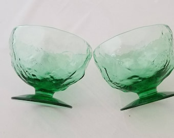 Lava Green Glass Dessert Cups Set of Two