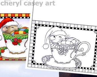 Printable Coloring Page - Christmas Card Mouse in Teacup - Cheryl Casey Art - Digistamp, Digital Stamp