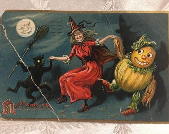 Vintage Raphael Tuck & Sons 1908 Halloween Post Card