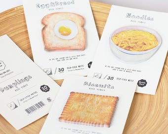 Quirky, biscuit or egg on toast, sticky / post it note pads