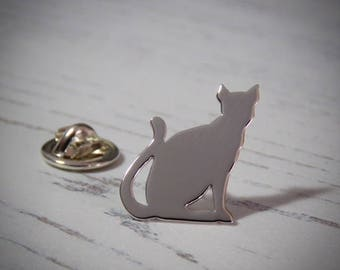 Handmade Sterling Silver Cat Lapel Pin