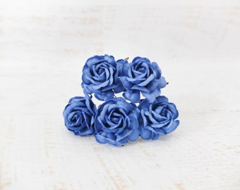 5 35mm royal blue mulberry paper roses - paper flowers - 3.5 cm embossed flowers