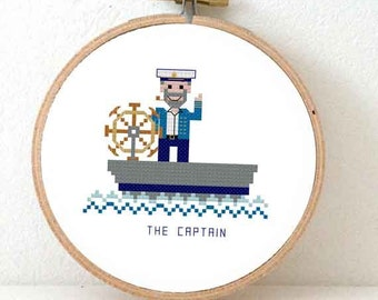 2 x boat captain cross stitch pattern. Modern nautical nursery decoration or use as DIY boat decor. Ornament for nautical wedding.