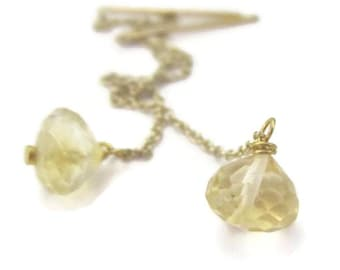 Earring Threaders Yellow Gemstone 14K Gold Filled Citrine Ear Threads Long Chain Earrings November Birthstone