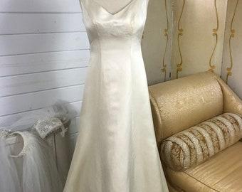 Gorgeous Marisa Satin Ivory Bridal Gown | Low Back Marisa Gown | Sleeveless Ivory Wedding Dress | Sleeveless Vintage Bridal Gown