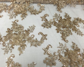 3D Sparkle Roses Sequins On Mesh Fabric With Beads By The Yard Used For -Dress-Bridal-Fashion [Skin] Free Shipping!!!