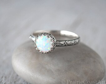 Opal Ring Silver - Sterling Silver Handforged Opal Birthstone Ring