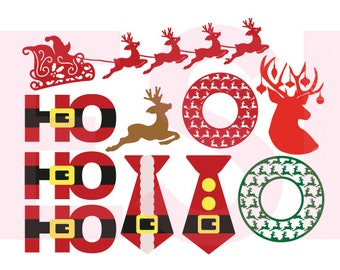Santa and Reindeer, svg design set, Christmas svg,  SVG, DXF, EPS,  for use with Silhouette Cameo and Cricut Explore.
