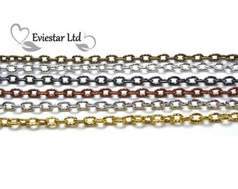 Metal Cross Cable Chain, Jewellery Making, Link 4.8 x 3 mm, AAO-15
