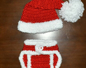 Santa Hat & matching Diaper Cover Handmade Crochet Baby Beanie Hat Photo Prop Custom Made