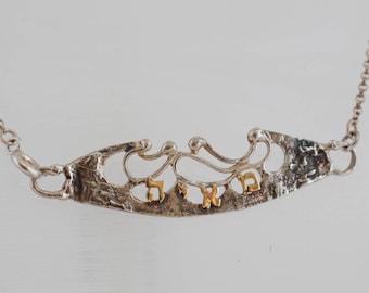 Your name monogram necklace, Hebrew custom designer Israeli necklace made in Israel.