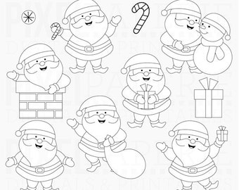 christmas stamps santa claus digital - Sweet Santas Digital Stamps