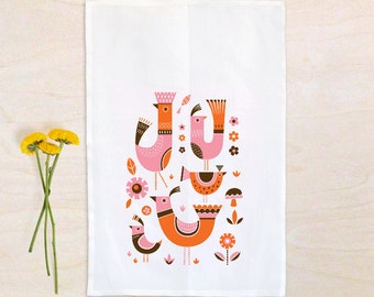 Midcentury Modern birdies tea towel, dish towel, 100% cotton, floursack tea towel, cook's gift, gift for Mom, kitchen gift
