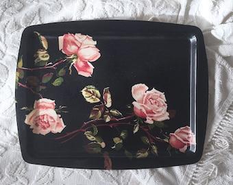 Floral Fiberglass Serving Tray