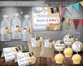 Mermaid Pirate Party Package, Mermaid Pirate Birthday Party Kit, Birthday Party Bundle, Sibling, Twins, Instant Download, Editable PDF #501
