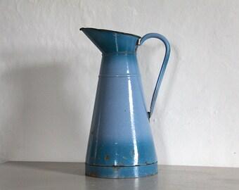 Antique French Enamel Pitcher/ Jug Blue