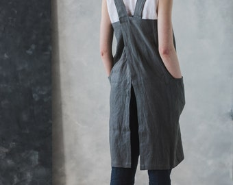 Linen Apron / Washed Japanese Apron / Soft Cross Back Apron / Pure Linen Long Apron / Linen Apron Dress / Workshop Pinafore / No Ties Apron