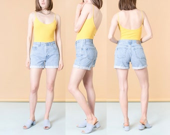 HIGH WAIST SHORTS 90S light wash jean denim women G A P gap vintage spring summer / Size 8 / 29 Inch Waist