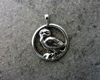 Snowy Owl Pendant - Handmade in the Pacific Northwest