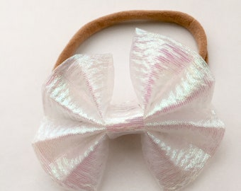 white clear pearl iridescent baby and toddler bow, princess bow, white shimmer bow