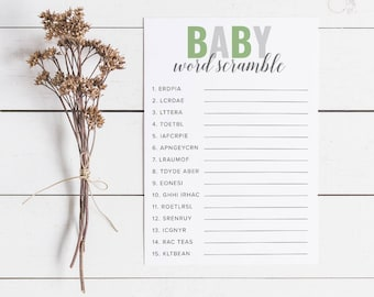 Green Baby Shower Word Scramble, Baby Shower Games, Word Scramble