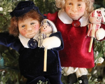 Victorian Polymer Children Ornaments In Finery