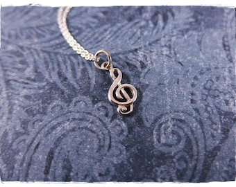Mini Treble Clef Necklace - Sterling Silver Treble Clef Charm on a Delicate Sterling Silver Cable Chain or Charm Only