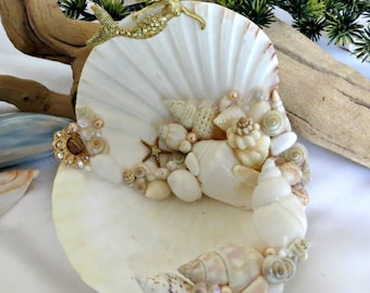 Golden Mermaid seashell jewelry dish_beach wedding ring holder_beach home decor_mothers day gifts