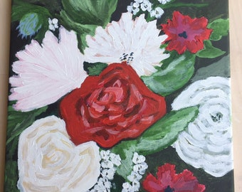 Floral Bouquet Painting 8x8 on Canvas Flower painting