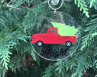 Personalized Ornaments Christmas/Holiday Round, Acrylic kids, teacher, vintage christmas truck