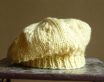 SALE - 25% Off  Immediate Shipping - Hand knit Infant Baby Beret Hat Pale Yellow Scallops Eyelet Lace Handknit Easter
