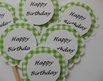 Happy Birthday Cupcake Toppers - Green Gingham and White - Gender Neutral - Birthday Party Decorations - Set of 6