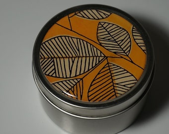 Round Storage Tin Trinket Box Gift Tin Keepsake Box Gift Box Jewellery Box Bits and Bobs Tin Autumn Leaves