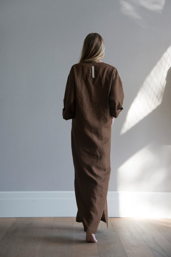 Soft pocket pure front JEFF Women's caftan linen Brown with Coffee tunic nIxqHa