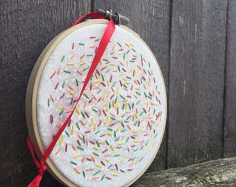 Fall leaves confetti hand embroidery hoop art