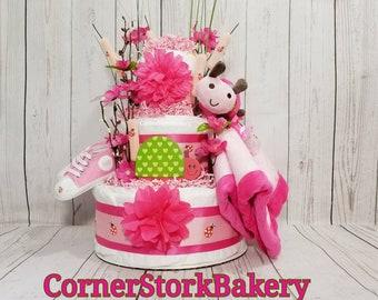 Ladybug Diaper Cake| Ladybug Baby Gift| Ladybug Baby Shower| Baby Shower Centerpiece| Girls Diaper Cake| Diaper Cake| Baby Gift| Baby Shower