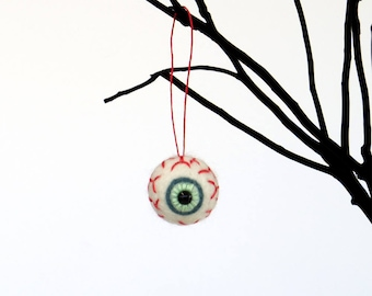 "Felt eyeball ornament : pick color - blue, green or pink  (list for 1 eyeball 1.25"") Halloween needle felted, cute goth decor, small gift"