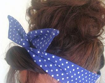 Dolly Bow Wire Headband Navy Blue Metallic Polka Dots Wire Headband Rockabilly 40s Pinup headband Women Teen Girl