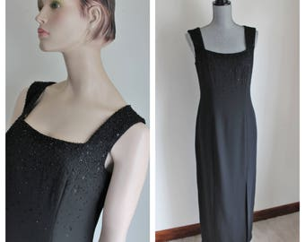 Vintage Black Beaded Maxi Gown by Liz Claiborne, Size Medium Formal Evening Gown