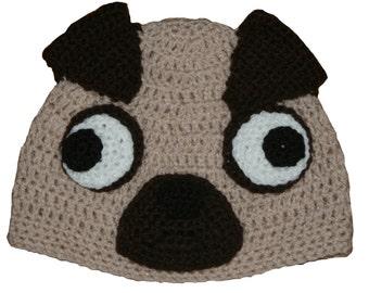 Hand Crocheted Pug Hat HH148