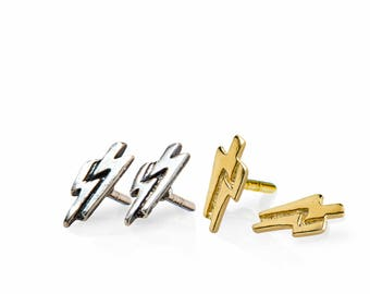 Dainty Lightning Stud Earrings, Sterling Silver and Gold Studs, Lightning Jewelry
