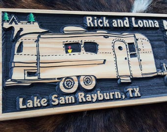 Personalized Camper Sign - Going RV - Bumper Pull Airstream Camper - Tiny House - Carved Wood Customized Hand painted