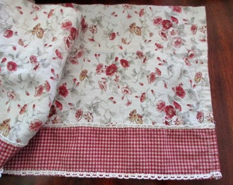cotton WAVERLY Garden Room valance-curtain, floral, gingham check