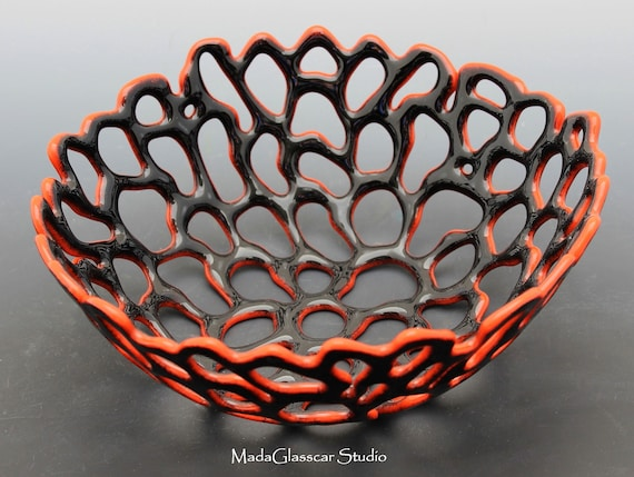 A Hint of Red Fused Glass Bowl