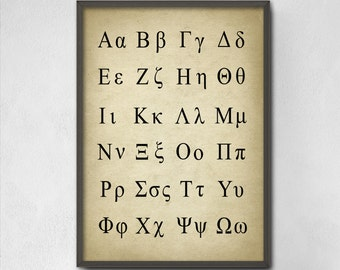 Greek Alphabet Poster - Greek Language - Science Print - Greek Letters Classic Greek Alphabet - Mathematics - Science - Greek Symbols