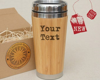 Personalized Bamboo Wood Gift Travel Mug with Custom Image or Text Car Tumblier Desk Coffee Tea Cup with Lid