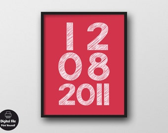 """Personalized Anniversary Date Wall Art, 8x10"""", Printable Art, Gift For Wife Or Husband, Marriage Sign, Family Wall Decal, Important Date"""