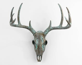 Faux Deer Skull in Patina~Deer Skull~Animal Skull~Bohemian Decor~Mini Deer Skull~Antlers