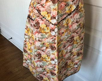 Vintage Brown, Pink and Yellow Floral Print Ladies' Half Apron with Brown Rick Rack Trim